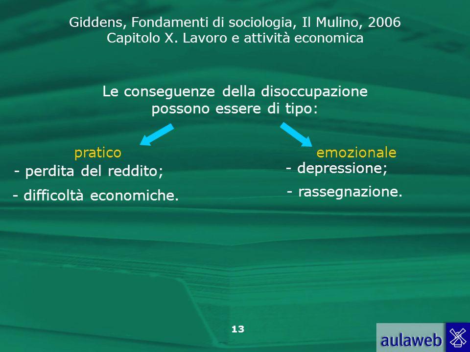 Giddens, Fondamenti di sociologia, Il Mulino, 2006 Capitolo X. Lavoro e attività economica 13 Le conseguenze della disoccupazione possono essere di ti