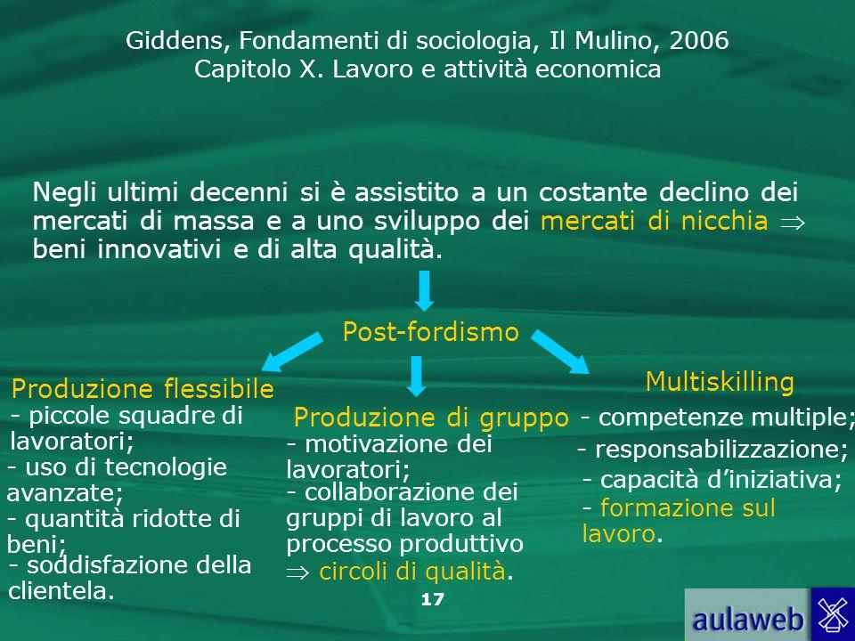 Giddens, Fondamenti di sociologia, Il Mulino, 2006 Capitolo X. Lavoro e attività economica 17 Negli ultimi decenni si è assistito a un costante declin