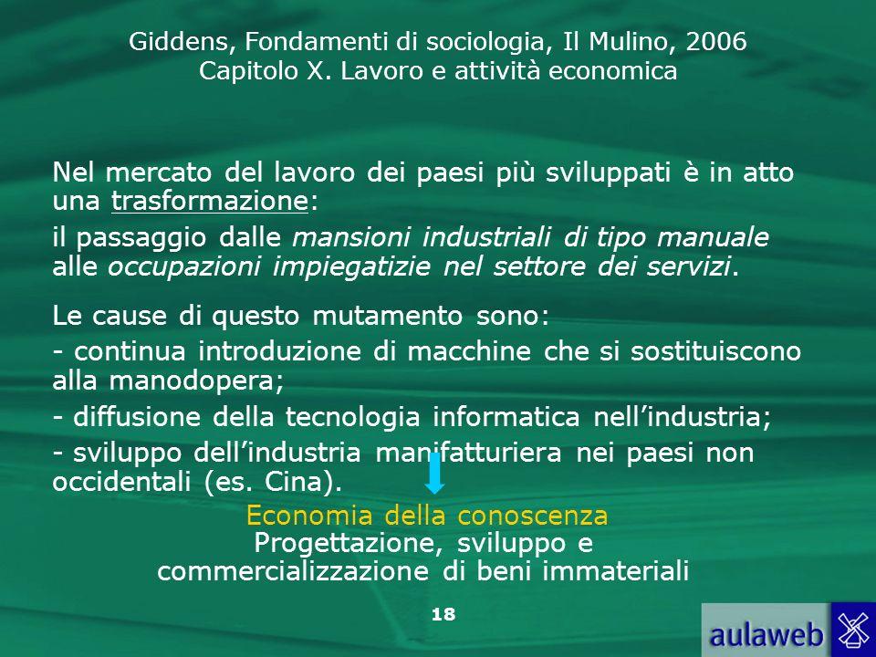 Giddens, Fondamenti di sociologia, Il Mulino, 2006 Capitolo X. Lavoro e attività economica 18 Nel mercato del lavoro dei paesi più sviluppati è in att