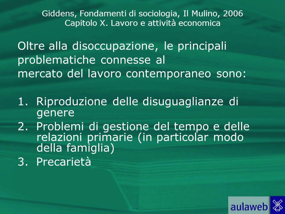 Giddens, Fondamenti di sociologia, Il Mulino, 2006 Capitolo X. Lavoro e attività economica Oltre alla disoccupazione, le principali problematiche conn