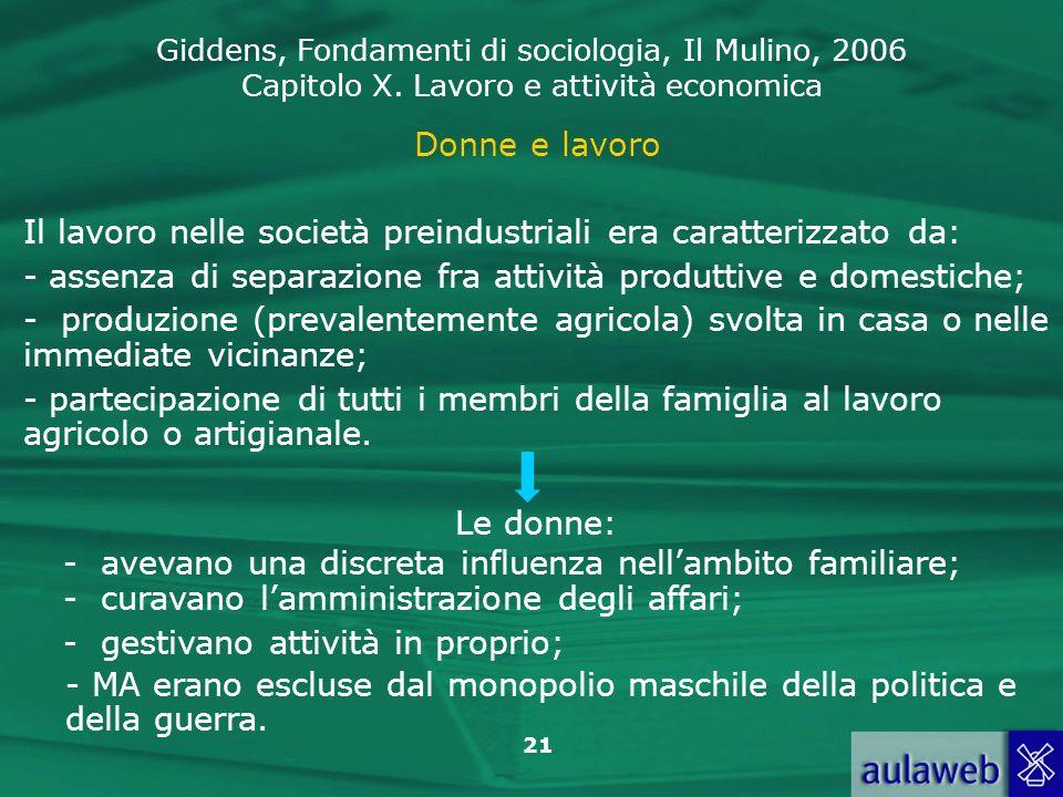 Giddens, Fondamenti di sociologia, Il Mulino, 2006 Capitolo X. Lavoro e attività economica 21 Donne e lavoro Il lavoro nelle società preindustriali er