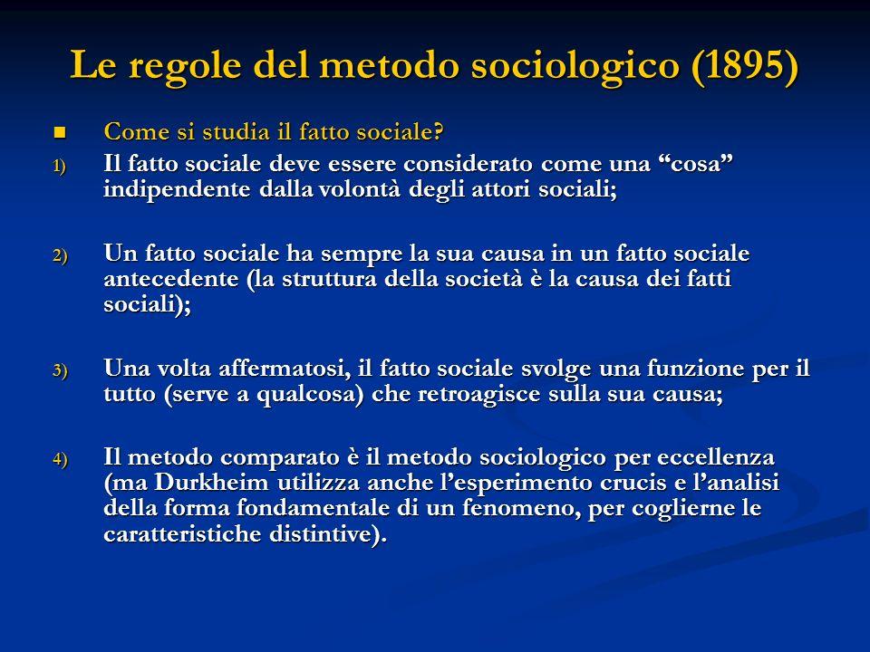 Le regole del metodo sociologico (1895) Come si studia il fatto sociale.
