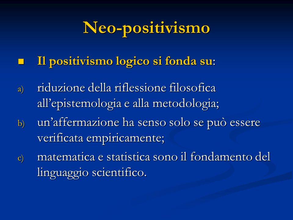 Neo-positivismo Il positivismo logico si fonda su: Il positivismo logico si fonda su: a) riduzione della riflessione filosofica allepistemologia e alla metodologia; b) unaffermazione ha senso solo se può essere verificata empiricamente; c) matematica e statistica sono il fondamento del linguaggio scientifico.