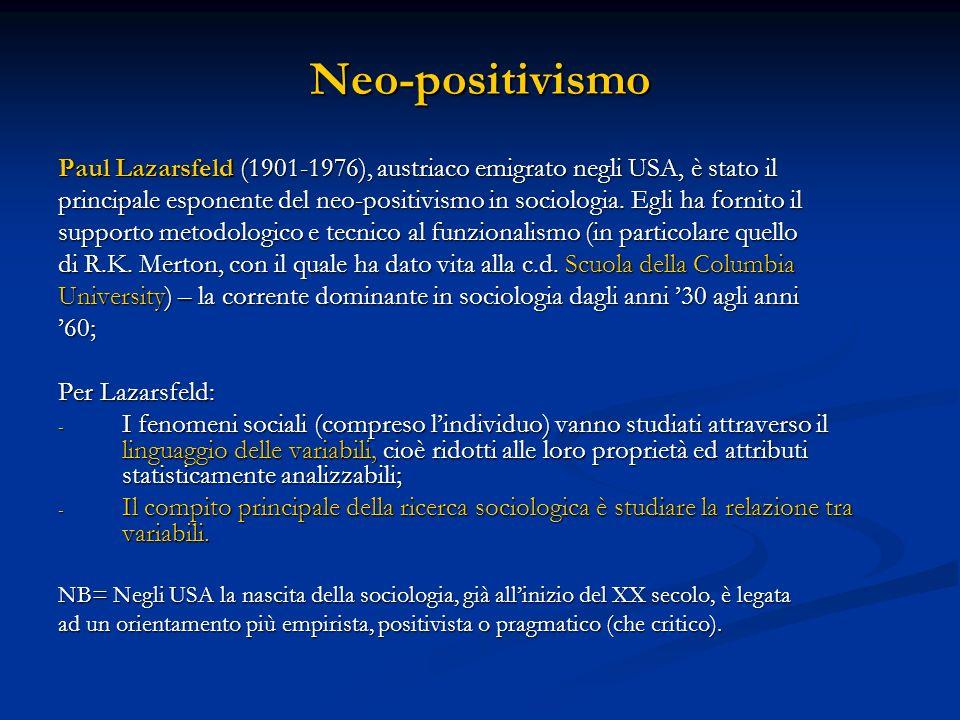 Neo-positivismo Paul Lazarsfeld (1901-1976), austriaco emigrato negli USA, è stato il principale esponente del neo-positivismo in sociologia.