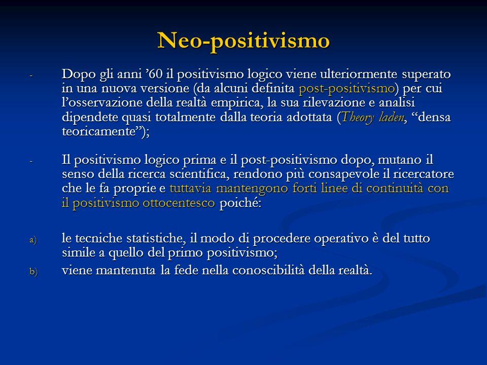 Neo-positivismo - Dopo gli anni 60 il positivismo logico viene ulteriormente superato in una nuova versione (da alcuni definita post-positivismo) per cui losservazione della realtà empirica, la sua rilevazione e analisi dipendete quasi totalmente dalla teoria adottata (Theory laden, densa teoricamente); - Il positivismo logico prima e il post-positivismo dopo, mutano il senso della ricerca scientifica, rendono più consapevole il ricercatore che le fa proprie e tuttavia mantengono forti linee di continuità con il positivismo ottocentesco poiché: a) le tecniche statistiche, il modo di procedere operativo è del tutto simile a quello del primo positivismo; b) viene mantenuta la fede nella conoscibilità della realtà.
