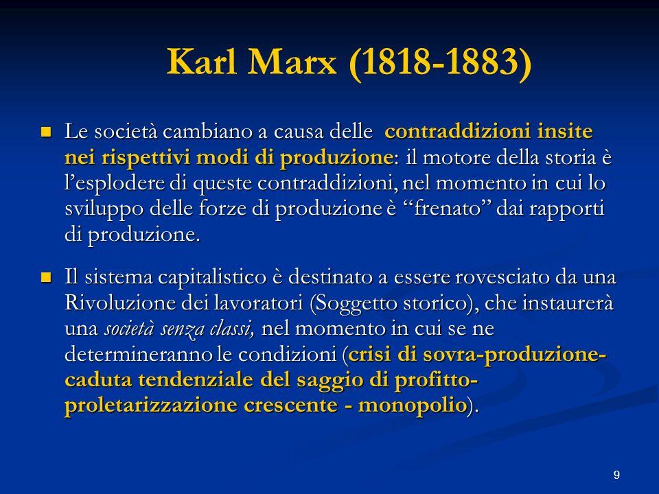 10 Karl Marx (1818-1883) In effetti, il legame tra politica ed economia, per Marx consiste nel fatto che lazione delle classi sociali è plasmata in tre modi dal procedere dal capitalismo: a) interessi: ogni classe sociale ha un particolare interesse verso lo Stato; b) le ideologie: le idee sono unarma politica e sociale.