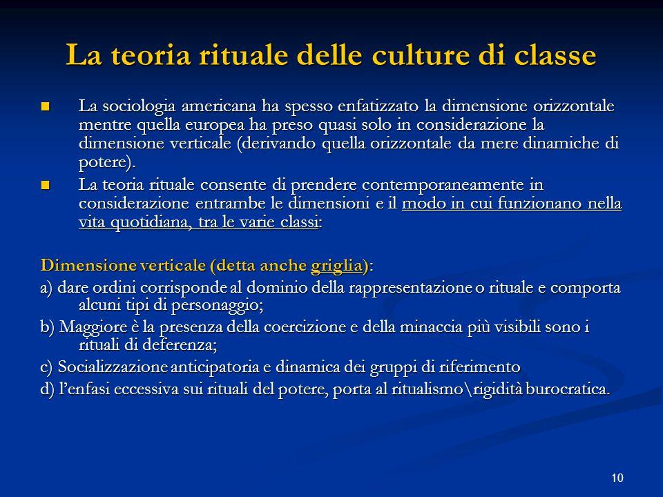 10 La teoria rituale delle culture di classe La sociologia americana ha spesso enfatizzato la dimensione orizzontale mentre quella europea ha preso qu