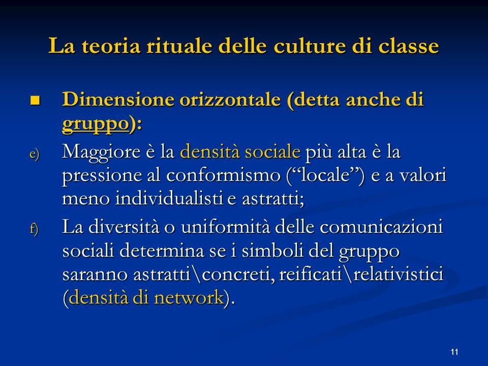 11 La teoria rituale delle culture di classe Dimensione orizzontale (detta anche di gruppo): Dimensione orizzontale (detta anche di gruppo): e) Maggio