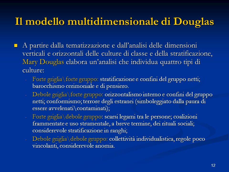 12 Il modello multidimensionale di Douglas A partire dalla tematizzazione e dallanalisi delle dimensioni verticali e orizzontali delle culture di clas