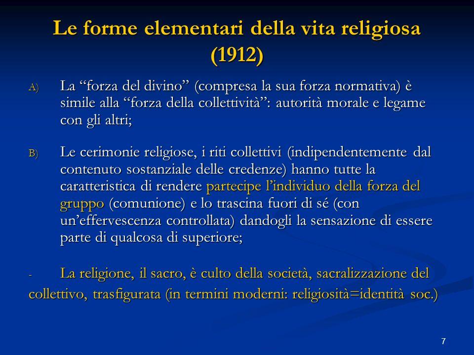 7 Le forme elementari della vita religiosa (1912) A) La forza del divino (compresa la sua forza normativa) è simile alla forza della collettività: aut