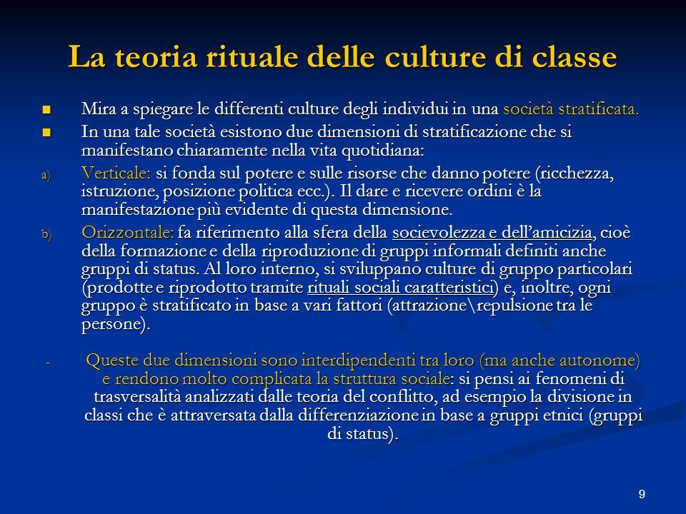 9 La teoria rituale delle culture di classe Mira a spiegare le differenti culture degli individui in una società stratificata. Mira a spiegare le diff