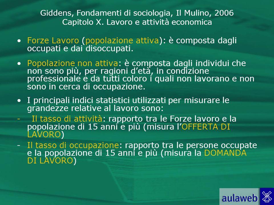 Giddens, Fondamenti di sociologia, Il Mulino, 2006 Capitolo X. Lavoro e attività economica Forze Lavoro (popolazione attiva): è composta dagli occupat