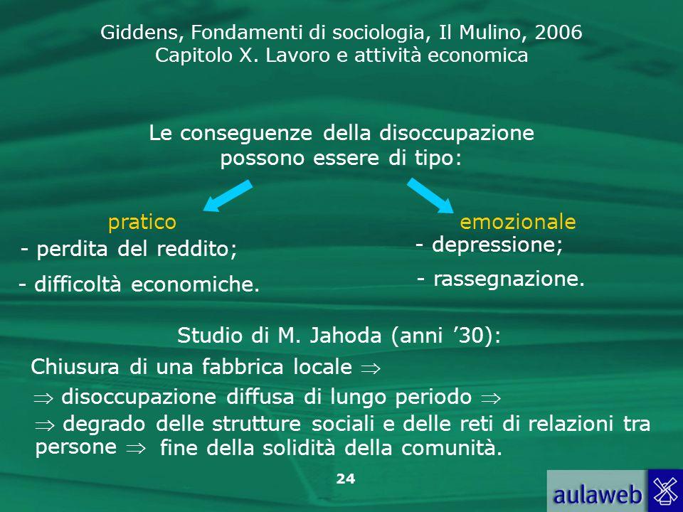 Giddens, Fondamenti di sociologia, Il Mulino, 2006 Capitolo X. Lavoro e attività economica 24 Le conseguenze della disoccupazione possono essere di ti