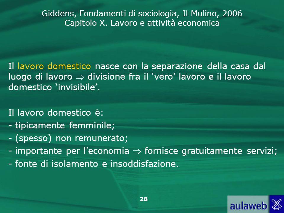Giddens, Fondamenti di sociologia, Il Mulino, 2006 Capitolo X. Lavoro e attività economica 28 Il lavoro domestico nasce con la separazione della casa