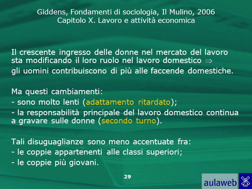 Giddens, Fondamenti di sociologia, Il Mulino, 2006 Capitolo X. Lavoro e attività economica 29 Il crescente ingresso delle donne nel mercato del lavoro