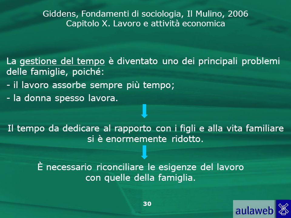 Giddens, Fondamenti di sociologia, Il Mulino, 2006 Capitolo X. Lavoro e attività economica 30 La gestione del tempo è diventato uno dei principali pro