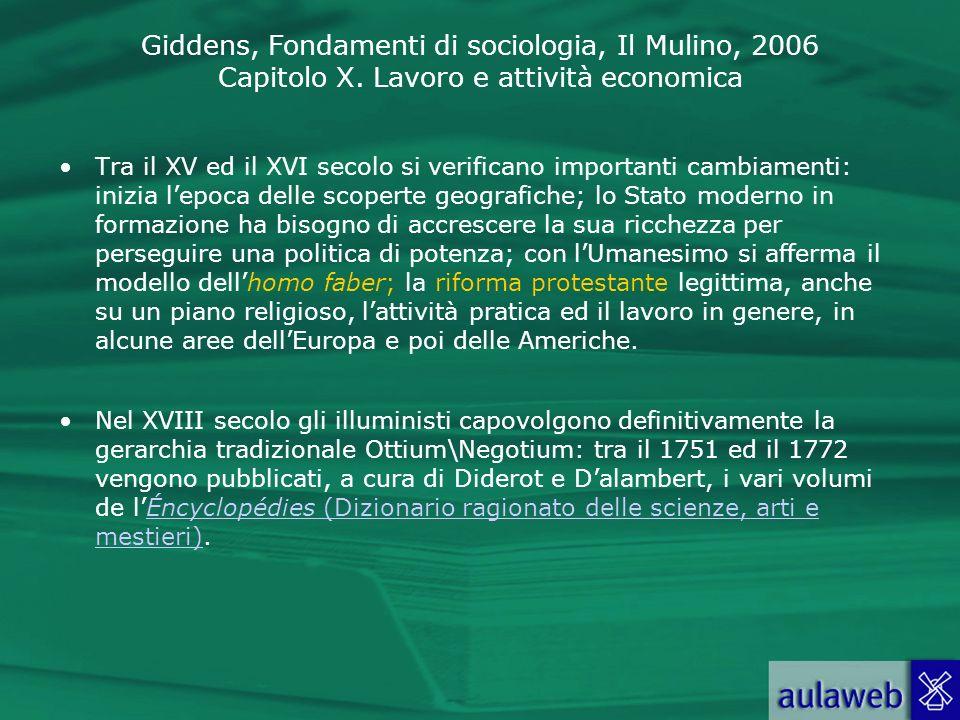 Giddens, Fondamenti di sociologia, Il Mulino, 2006 Capitolo X. Lavoro e attività economica Tra il XV ed il XVI secolo si verificano importanti cambiam
