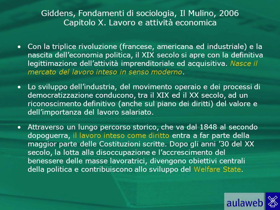 Giddens, Fondamenti di sociologia, Il Mulino, 2006 Capitolo X. Lavoro e attività economica Con la triplice rivoluzione (francese, americana ed industr
