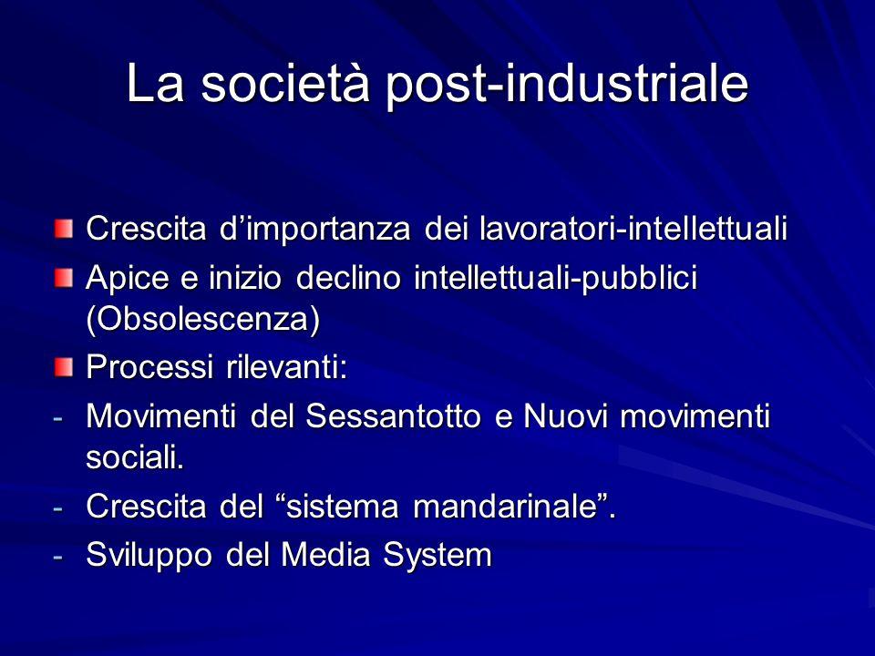La società post-industriale Crescita dimportanza dei lavoratori-intellettuali Apice e inizio declino intellettuali-pubblici (Obsolescenza) Processi rilevanti: - Movimenti del Sessantotto e Nuovi movimenti sociali.