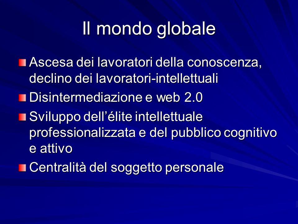 Il mondo globale Ascesa dei lavoratori della conoscenza, declino dei lavoratori-intellettuali Disintermediazione e web 2.0 Sviluppo dellélite intellettuale professionalizzata e del pubblico cognitivo e attivo Centralità del soggetto personale