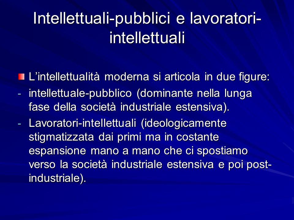 Intellettuali-pubblici e lavoratori- intellettuali Lintellettualità moderna si articola in due figure: - intellettuale-pubblico (dominante nella lunga fase della società industriale estensiva).