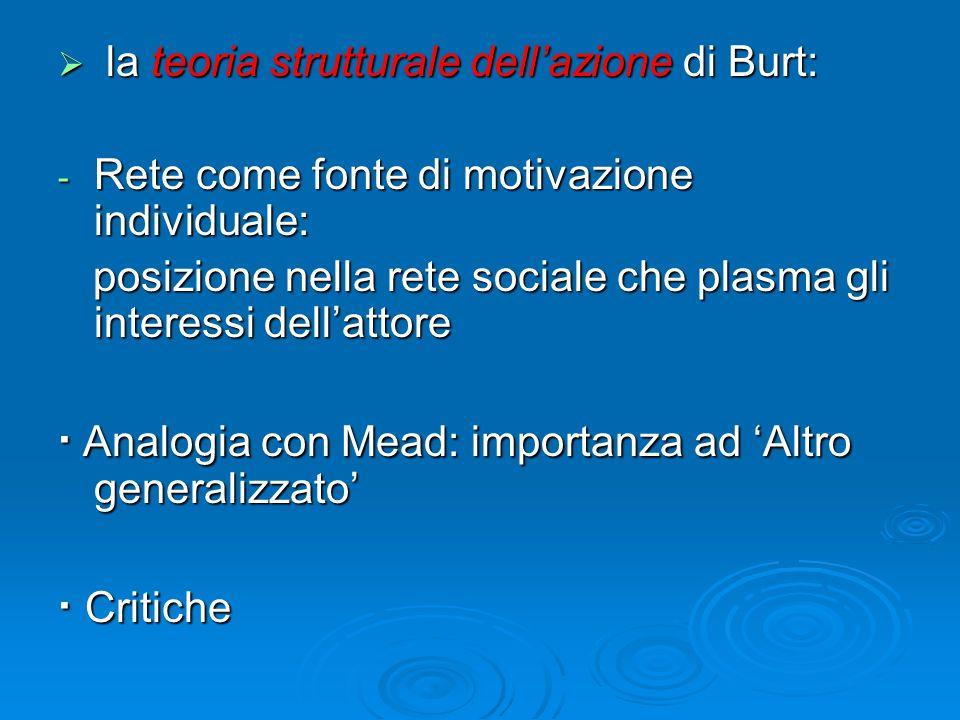 la teoria strutturale dellazione di Burt: la teoria strutturale dellazione di Burt: - Rete come fonte di motivazione individuale: posizione nella rete
