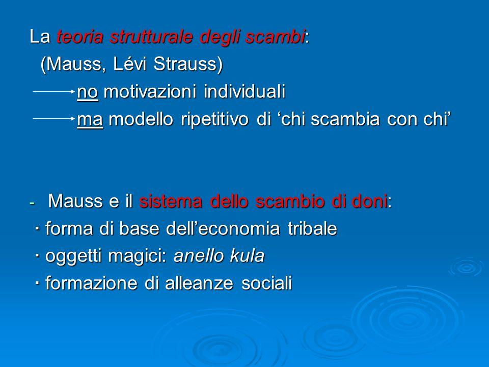 La teoria strutturale degli scambi: (Mauss, Lévi Strauss) (Mauss, Lévi Strauss) no motivazioni individuali no motivazioni individuali ma modello ripet