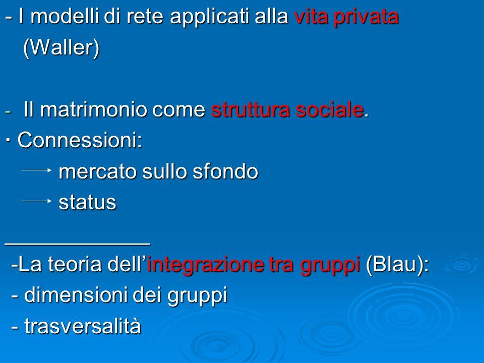 - I modelli di rete applicati alla vita privata (Waller) (Waller) - Il matrimonio come struttura sociale. · Connessioni: mercato sullo sfondo mercato