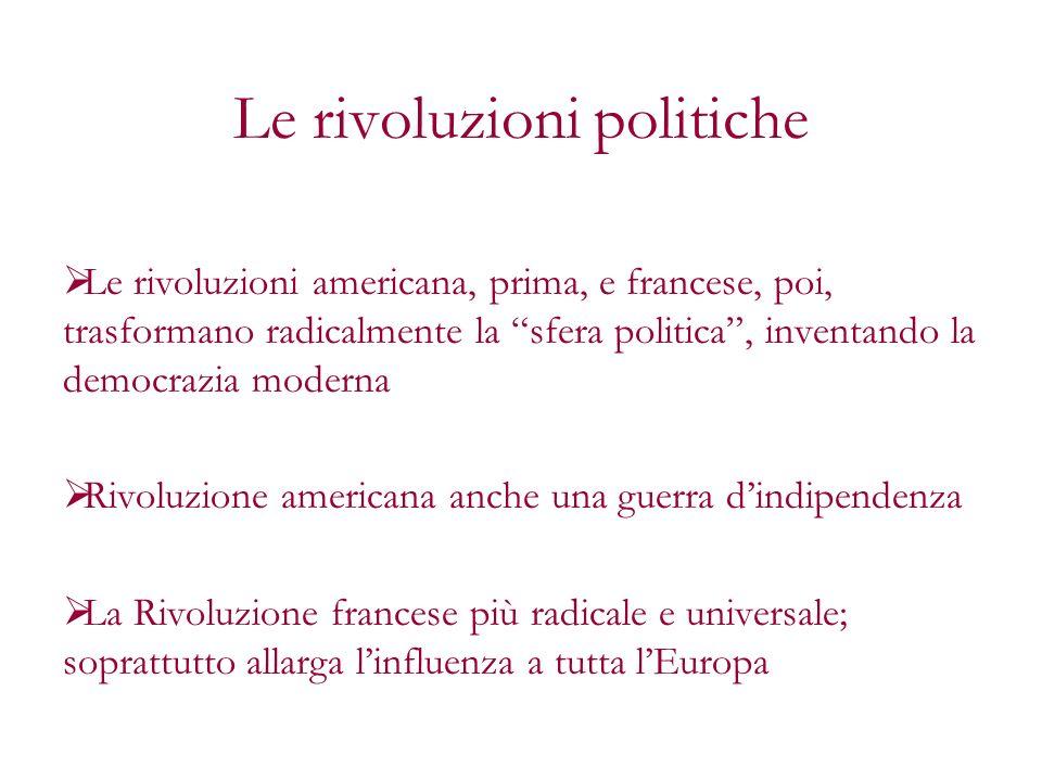 Le rivoluzioni politiche Le rivoluzioni americana, prima, e francese, poi, trasformano radicalmente la sfera politica, inventando la democrazia modern