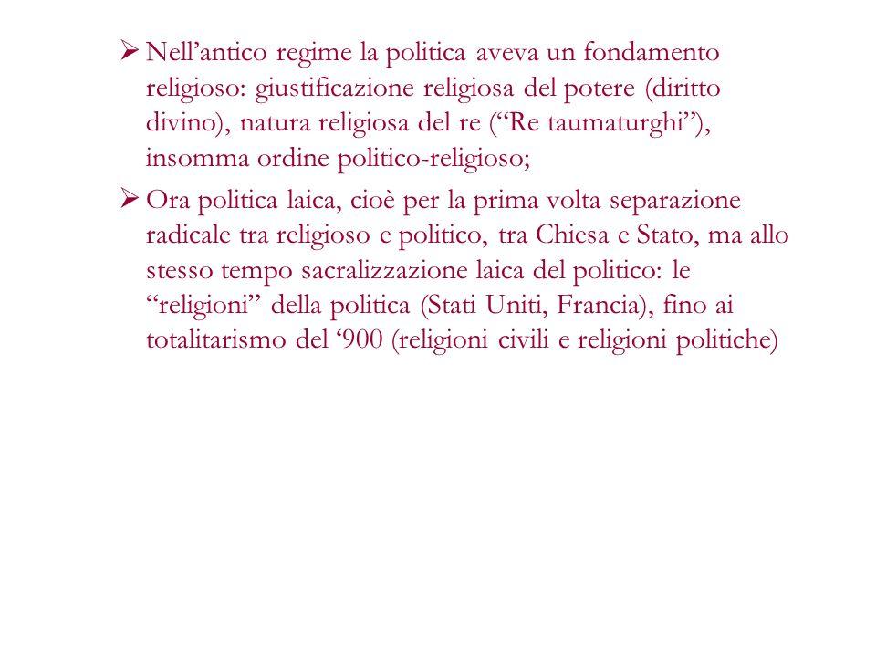 Nellantico regime la politica aveva un fondamento religioso: giustificazione religiosa del potere (diritto divino), natura religiosa del re (Re taumat