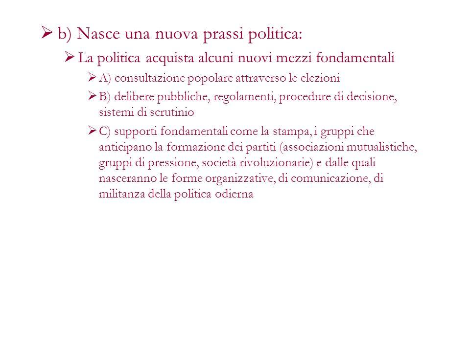 b) Nasce una nuova prassi politica: La politica acquista alcuni nuovi mezzi fondamentali A) consultazione popolare attraverso le elezioni B) delibere