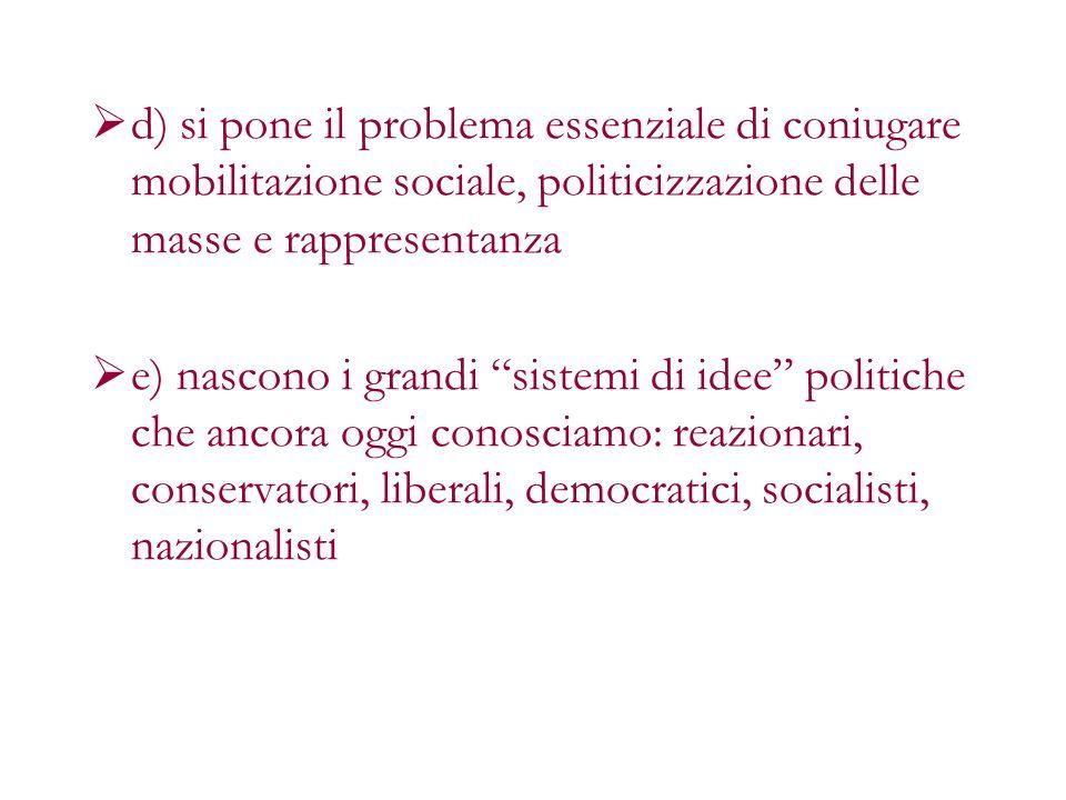 d) si pone il problema essenziale di coniugare mobilitazione sociale, politicizzazione delle masse e rappresentanza e) nascono i grandi sistemi di ide