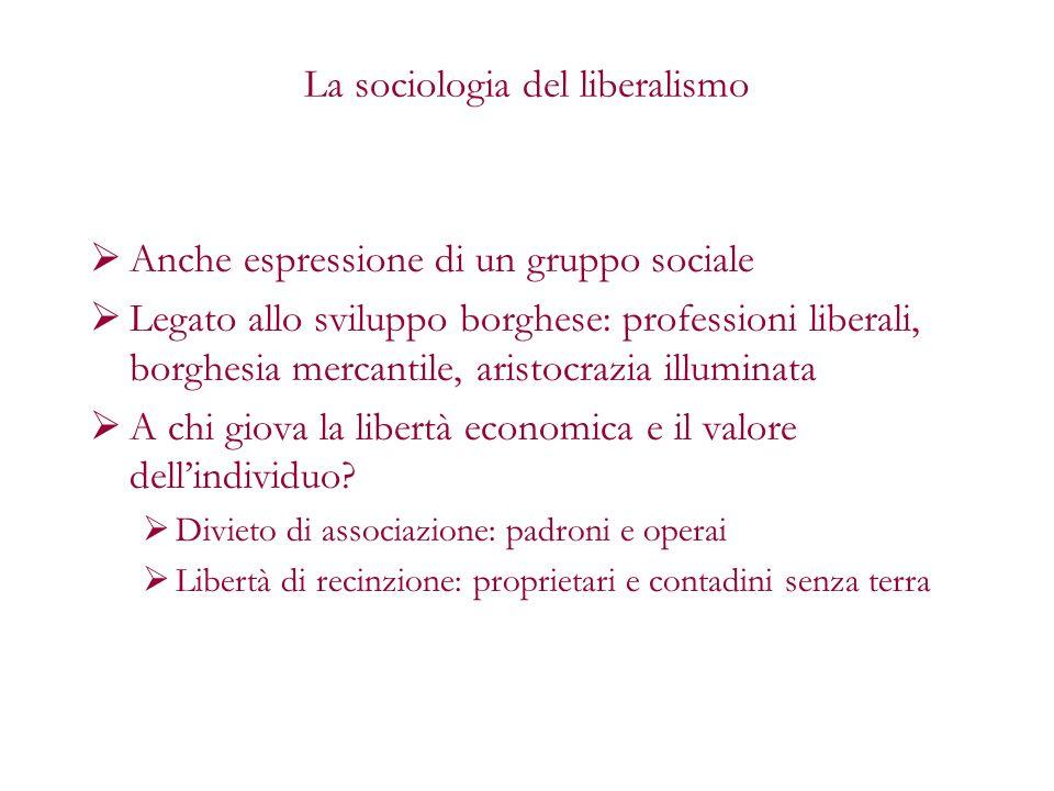 La sociologia del liberalismo Anche espressione di un gruppo sociale Legato allo sviluppo borghese: professioni liberali, borghesia mercantile, aristo