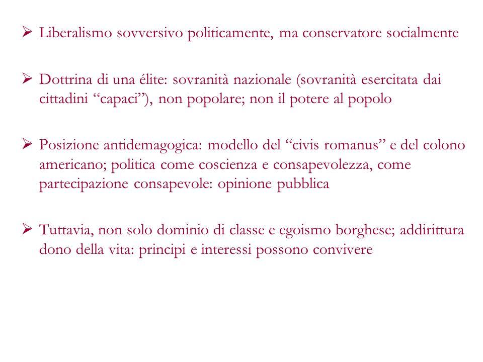 Liberalismo sovversivo politicamente, ma conservatore socialmente Dottrina di una élite: sovranità nazionale (sovranità esercitata dai cittadini capac