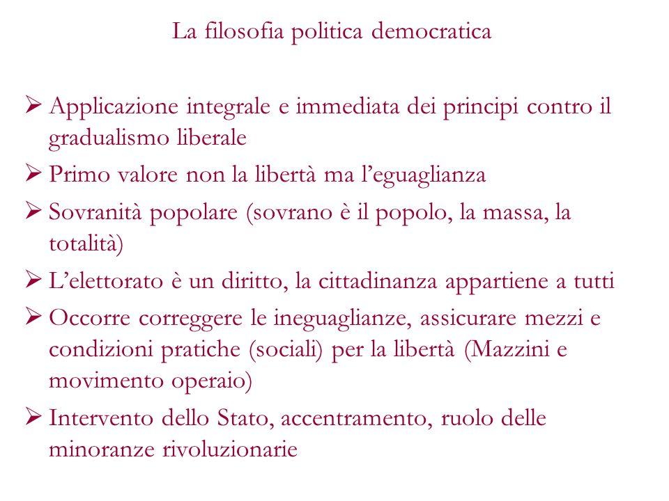 La filosofia politica democratica Applicazione integrale e immediata dei principi contro il gradualismo liberale Primo valore non la libertà ma leguag