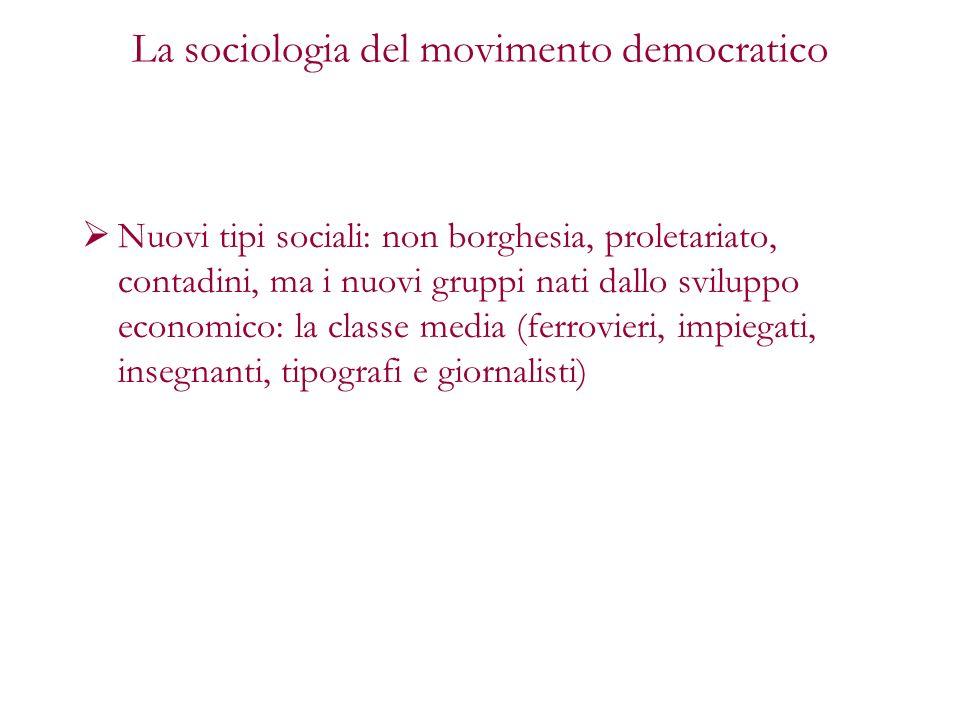La sociologia del movimento democratico Nuovi tipi sociali: non borghesia, proletariato, contadini, ma i nuovi gruppi nati dallo sviluppo economico: l