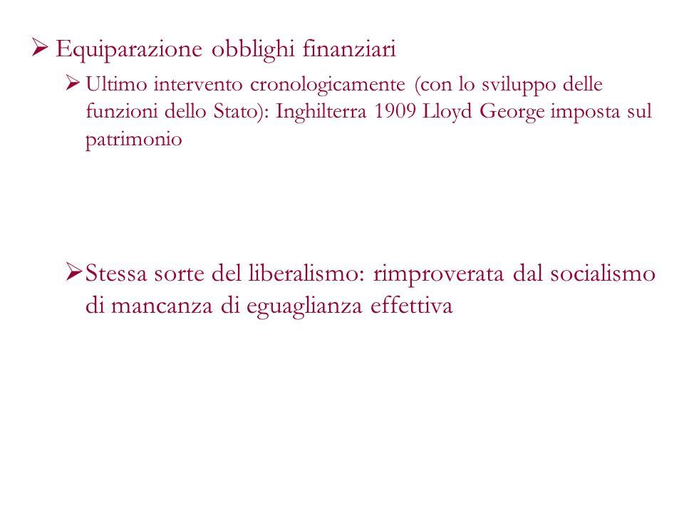 Equiparazione obblighi finanziari Ultimo intervento cronologicamente (con lo sviluppo delle funzioni dello Stato): Inghilterra 1909 Lloyd George impos