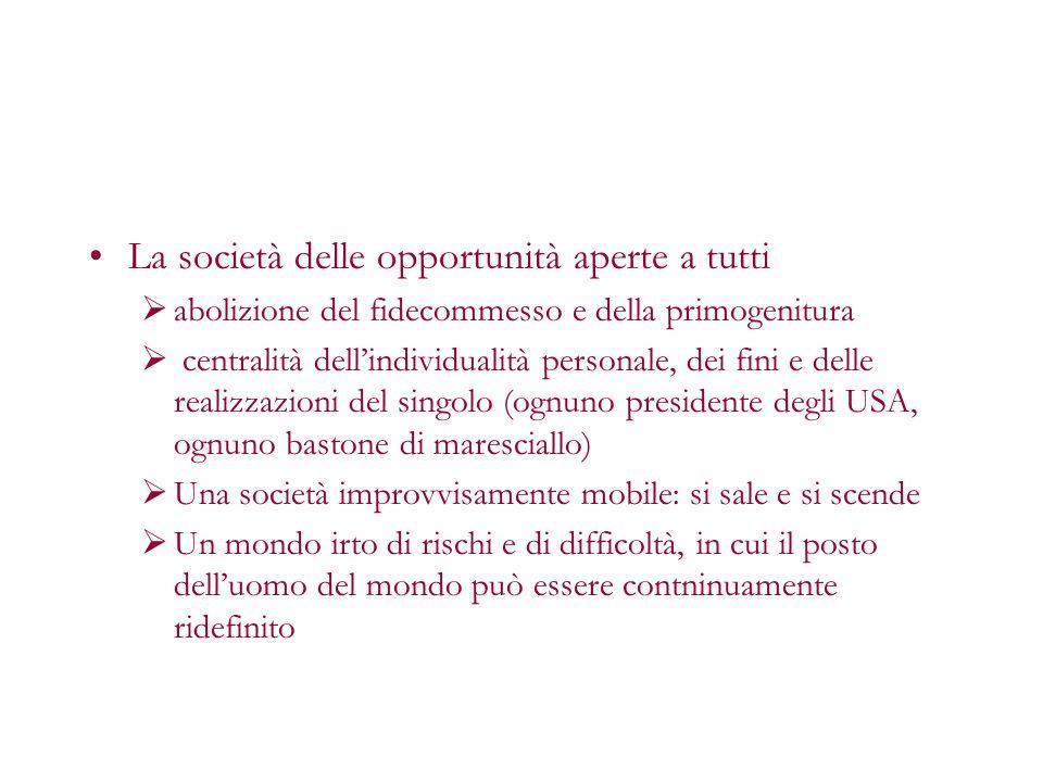 La società delle opportunità aperte a tutti abolizione del fidecommesso e della primogenitura centralità dellindividualità personale, dei fini e delle