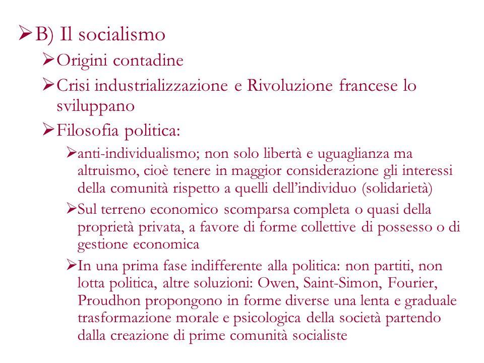 B) Il socialismo Origini contadine Crisi industrializzazione e Rivoluzione francese lo sviluppano Filosofia politica: anti-individualismo; non solo li