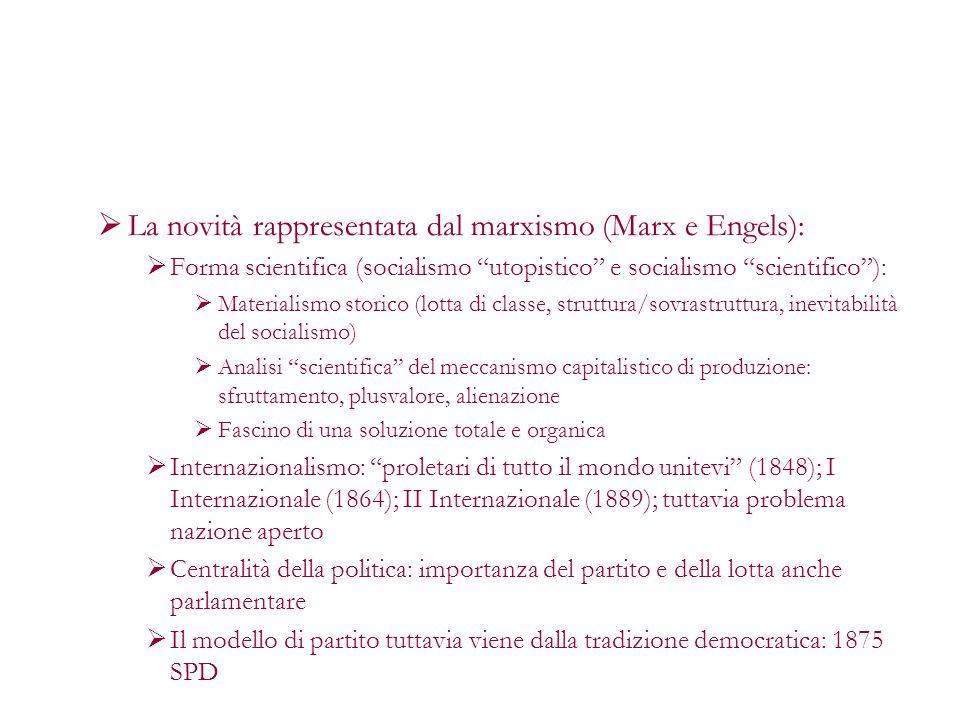 La novità rappresentata dal marxismo (Marx e Engels): Forma scientifica (socialismo utopistico e socialismo scientifico): Materialismo storico (lotta