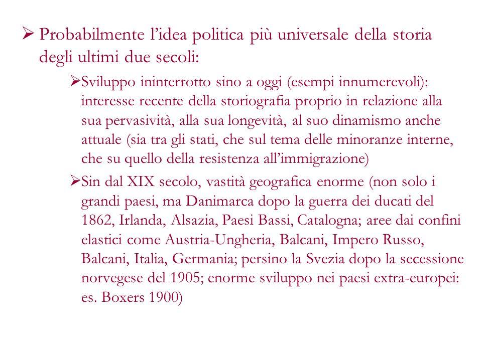 Probabilmente lidea politica più universale della storia degli ultimi due secoli: Sviluppo ininterrotto sino a oggi (esempi innumerevoli): interesse r