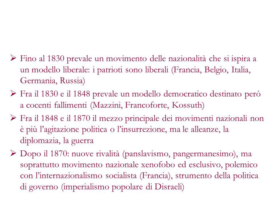 Fino al 1830 prevale un movimento delle nazionalità che si ispira a un modello liberale: i patrioti sono liberali (Francia, Belgio, Italia, Germania,