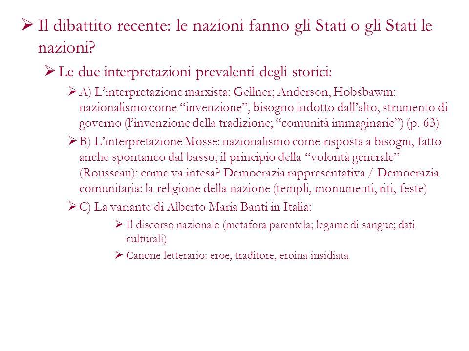 Il dibattito recente: le nazioni fanno gli Stati o gli Stati le nazioni? Le due interpretazioni prevalenti degli storici: A) Linterpretazione marxista