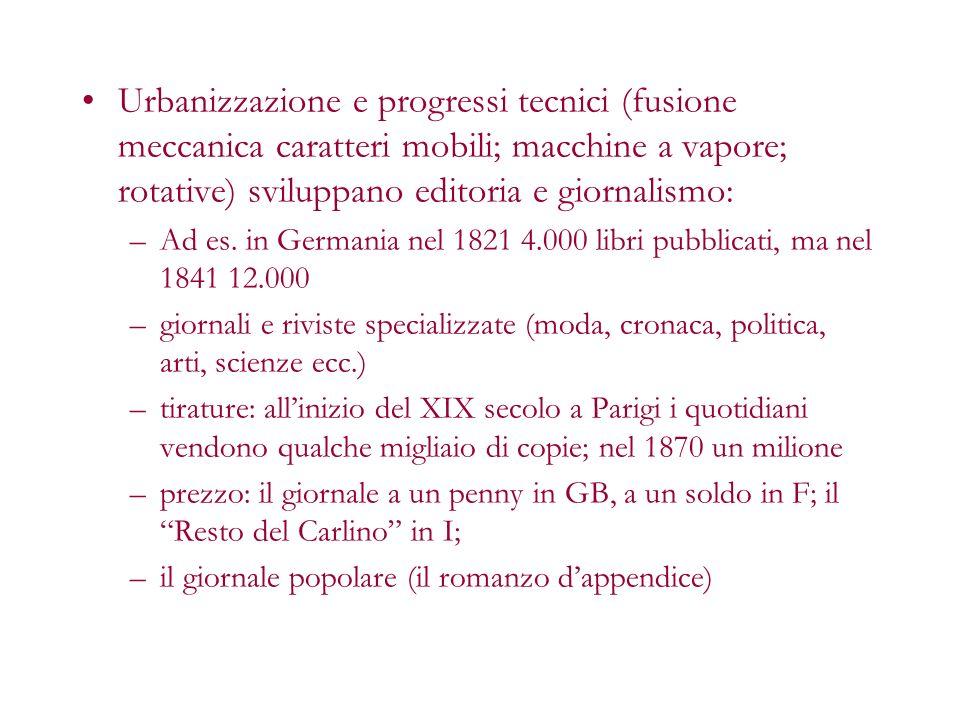 Urbanizzazione e progressi tecnici (fusione meccanica caratteri mobili; macchine a vapore; rotative) sviluppano editoria e giornalismo: –Ad es. in Ger