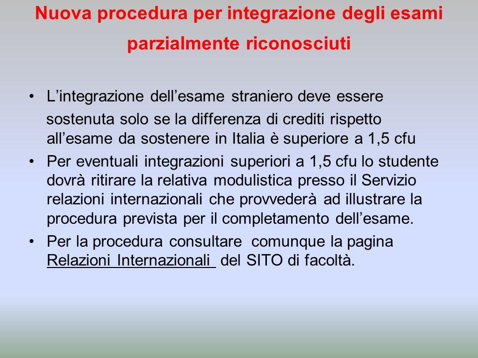 Nuova procedura per integrazione degli esami parzialmente riconosciuti Lintegrazione dellesame straniero deve essere sostenuta solo se la differenza d