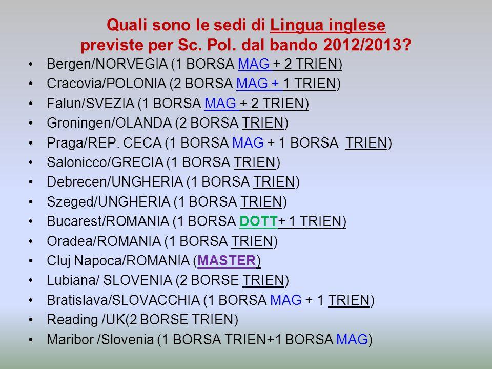 Quali sono le sedi di Lingua inglese previste per Sc. Pol. dal bando 2012/2013? Bergen/NORVEGIA (1 BORSA MAG + 2 TRIEN) Cracovia/POLONIA (2 BORSA MAG