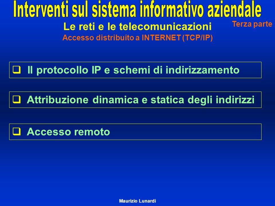 Il protocollo IP e schemi di indirizzamento Attribuzione dinamica e statica degli indirizzi Accesso remoto Terza parte Le reti e le telecomunicazioni Accesso distribuito a INTERNET (TCP/IP) Maurizio Lunardi