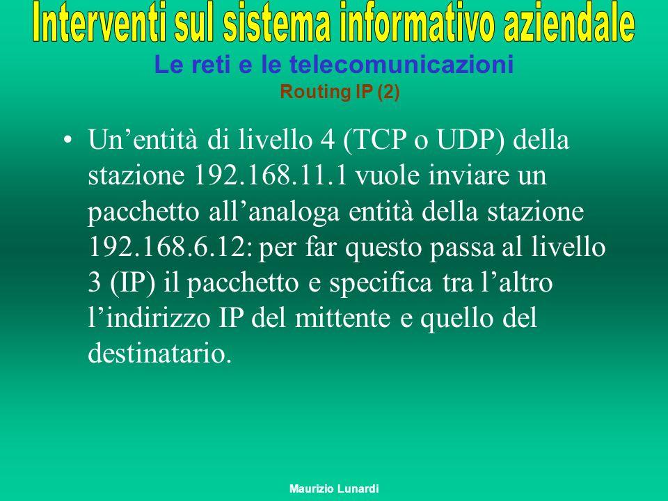 Le reti e le telecomunicazioni Routing IP (2) Unentità di livello 4 (TCP o UDP) della stazione 192.168.11.1 vuole inviare un pacchetto allanaloga enti