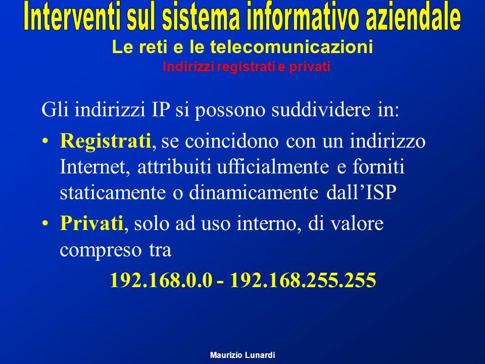 Le reti e le telecomunicazioni Indirizzi registrati e privati Gli indirizzi IP si possono suddividere in: Registrati, se coincidono con un indirizzo I