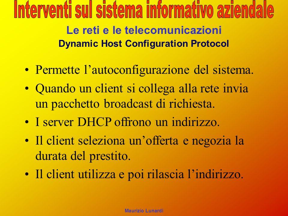 Le reti e le telecomunicazioni Dynamic Host Configuration Protocol Permette lautoconfigurazione del sistema. Quando un client si collega alla rete inv